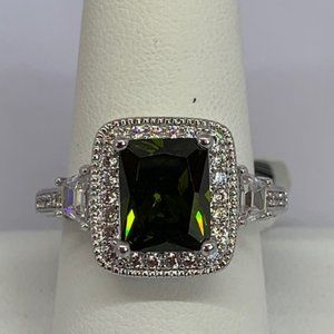 RS Covenant Large Sparkly Green & Clear CZ Ring